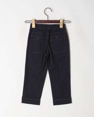 ネイビー 麻混カラーシャンブレー9分丈パンツを見る