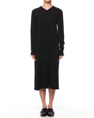 BLACK 100%ウール Aライン ロングドレスを見る
