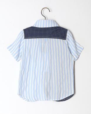 ブルー ドット&ストライプマリンカラーシャツを見る