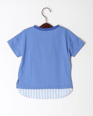 ブルー レイヤードライクドロップスリーブTシャツを見る