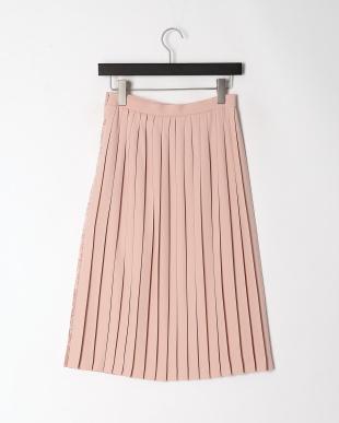 ピンク ダブルサテンレースプリーツスカートを見る