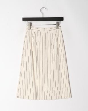 ホワイト リネンストライプAラインスカートを見る