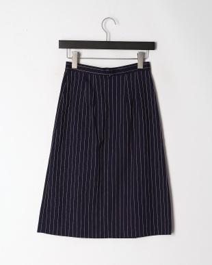 ネイビー リネンストライプAラインスカートを見る