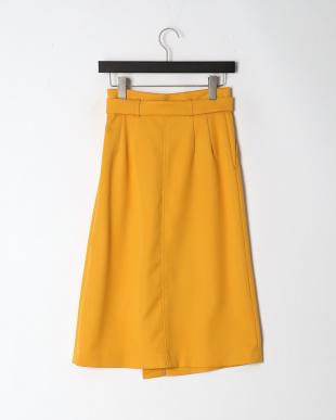 イエロー ダブルツイルラップスカートを見る