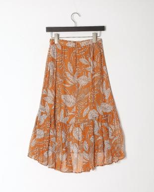 オレンジ クレープリーフパンツティアード スカートを見る