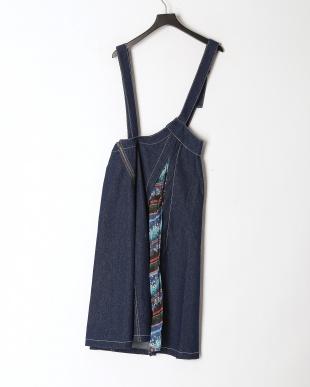 ブルー デニム×シフォン蝶柄ジャンパースカートを見る