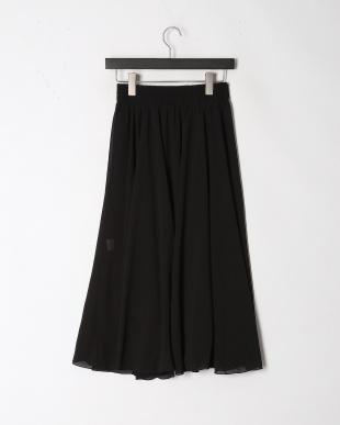 ブラック ウエストゴム ギャザーフレアースカートを見る
