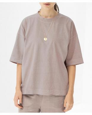 ピンクベージュ オーバーサイズクルーネックTシャツを見る