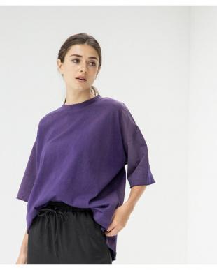 パープル オーバーサイズクルーネックTシャツを見る