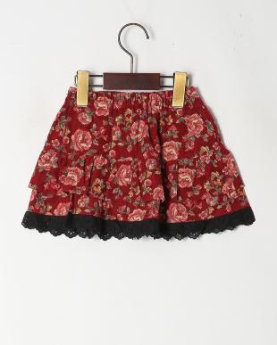 レッド 大花柄スカートを見る