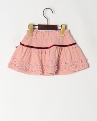 ピンク フリル付スカートを見る