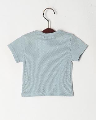 ブルー オーガニックコットン半袖Tシャツを見る