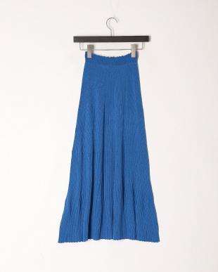 ブルー 日本製ホールガーメント透かし柄ロングSKを見る