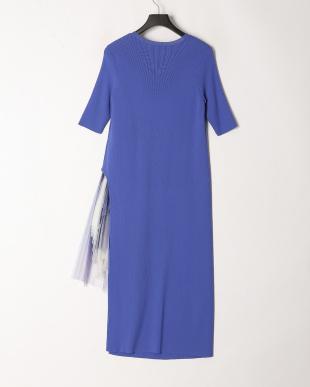 サックス プリーツニットプリントドレスを見る