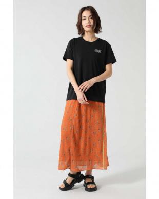 オレンジ フラワープリントシースルースカート R/B(オリジナル)を見る