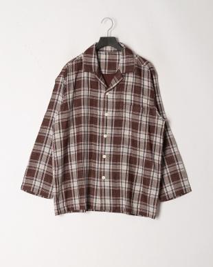 ブラウン [メンズ]3重ガーゼカラードチェックパジャマを見る