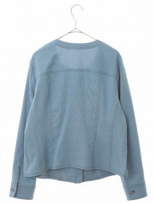ライトブルー 【洗える】ノーカラー ステッチジャケット HIROKO BIS GRANDEを見る