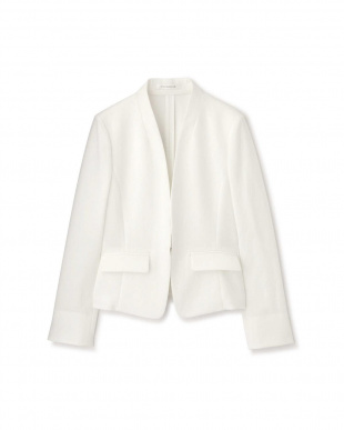 ホワイト ドライポプリンノーカラーセットアップジャケット PINKY & DIANNEを見る