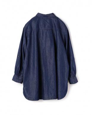 ダークネイビー [柔らかテンセル]デニムピンタックシャツチュニックを見る