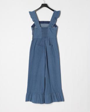 BLUE 裾フリルデニムサロペットパンツを見る