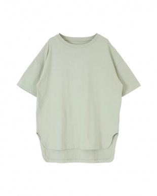 ライトグリーン コットンカットソーロング丈Tシャツを見る
