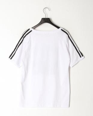 ホワイト 袖山3ライン プリントTシャツを見る