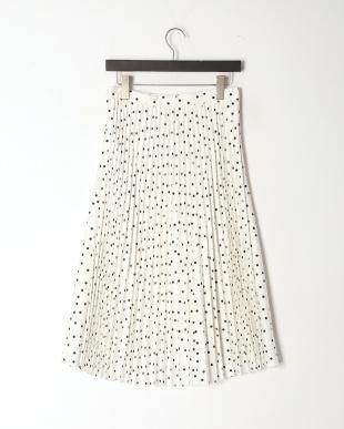 オフホワイトXブラック ドットプリントフレアー&プリーツスカートを見る