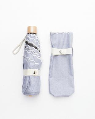ブルー 晴雨兼用 カラーコーティングミニ デニム風刺繍を見る