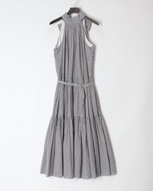 119 Stripe tiered dress BLK×WHT Fを見る