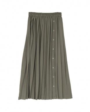 グレイッシュグリーン ボタンオープンプリーツスカートを見る