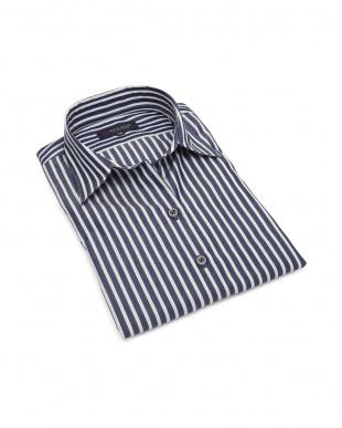 ネイビー 形態安定ノーアイロン スキッパー衿 七分袖ビジネスワイシャツを見る