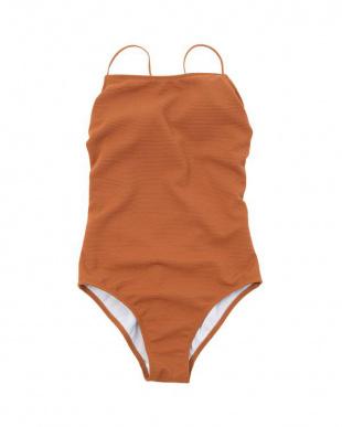 オレンジ シンプルリブワンピース/水着を見る
