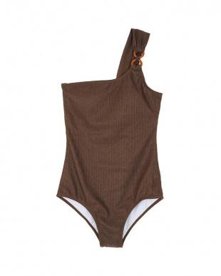 ブラウン フープワンショルダーワンピース/水着を見る