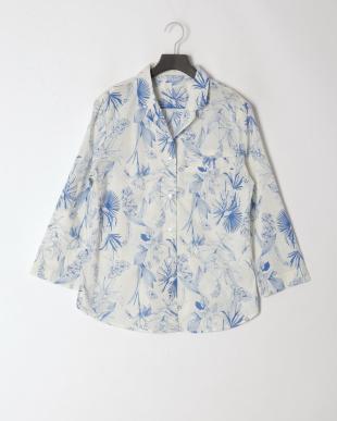 ボタニカルブルー コットン100%ローン シャツパジャマ 長袖 ショートパンツを見る