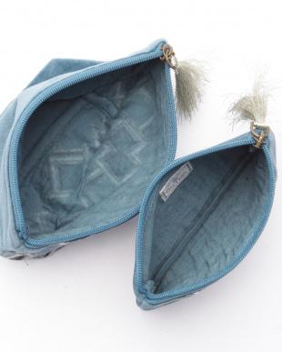 コットンベロア刺繍フラットポーチ ブルー&マチ付きポーチ ブルーを見る