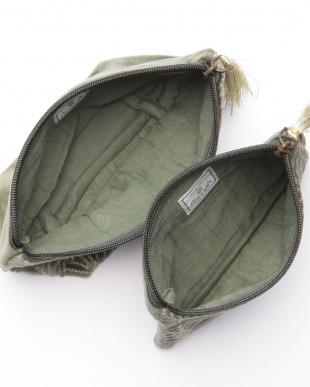 コットンベロア刺繍フラットポーチ グリーン&マチ付ポーチ グリーンを見る