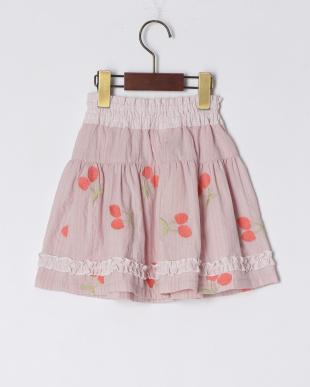 ピンク チェリー刺繍スカートを見る