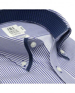ネイビー 形態安定ノーアイロン マイターボタンダウンカラー 長袖ビジネスワイシャツを見る