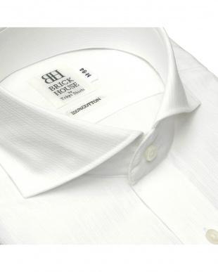 ホワイト 形態安定ノーアイロン ホリゾンタルワイドカラー 長袖ビジネスワイシャツを見る