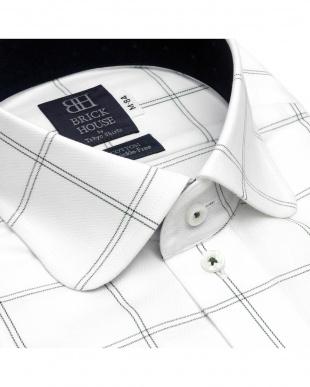グレー 形態安定ノーアイロン ラウンド  長袖ビジネスワイシャツを見る