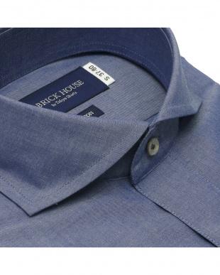 ダークネイビー 形態安定ノーアイロン ホリゾンタルワイド 長袖ビジネスワイシャツを見る