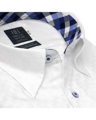 ホワイト 形態安定ノーアイロン スナップボタン 長袖ビジネスワイシャツを見る