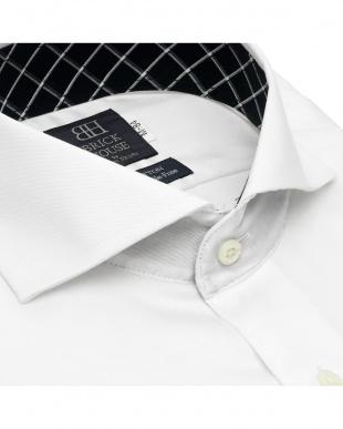 ホワイト 形態安定ノーアイロン ホリゾンタル ワイド 長袖ビジネスワイシャツを見る