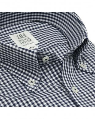ネイビー 形態安定ノーアイロン ボタンダウン 長袖ビジネスワイシャツを見る
