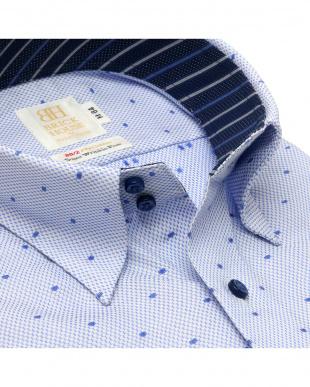 ブルー 形態安定ノーアイロン ドゥエボットーニ スナップダウン  長袖ビジネスワイシャツを見る