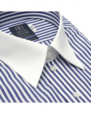 ネイビー 形態安定ノーアイロン クレリックレギュラーカラー 長袖ビジネスワイシャツを見る