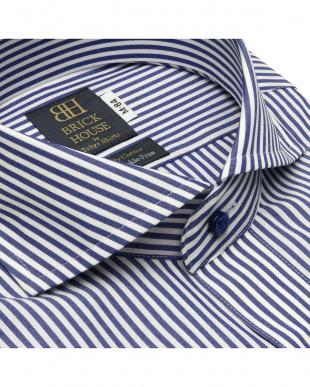 ネイビー 形態安定ノーアイロン ホリゾンタル ワイド  長袖ビジネスワイシャツを見る