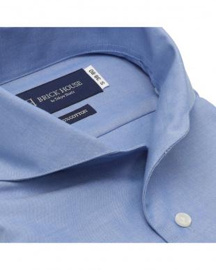 ブルー 形態安定ノーアイロン ワンピースホリゾンタルスナップダウン 長袖ビジネスワイシャツを見る