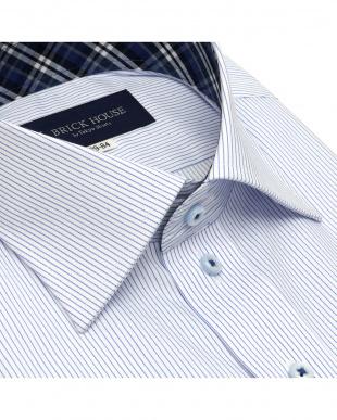 ライトブルー 形態安定ノーアイロン ポケクロ ワイド  長袖ビジネスワイシャツを見る