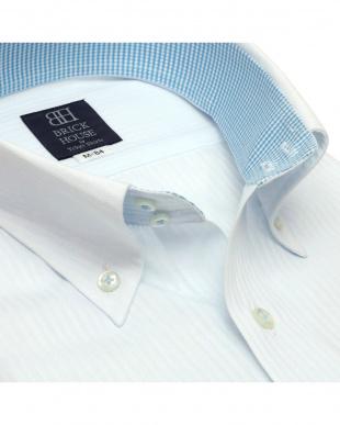 サックスブルー 形態安定ノーアイロン ドゥエボットーニボタンダウンカラー 長袖ビジネスワイシャツを見る